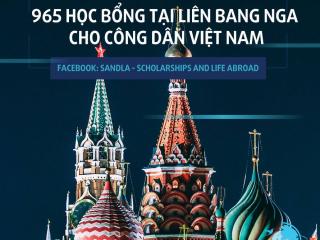 Học bổng tại Liên bang Nga theo diện Hiệp định năm 2020